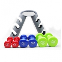 12KG VINYL DUMBBELL SET WITH RACK - IR92089 12kg