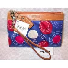 กระเป๋า COACH NAVY PLEATED POLKA DOT WRISTLET BAG STYLE NO. 43595