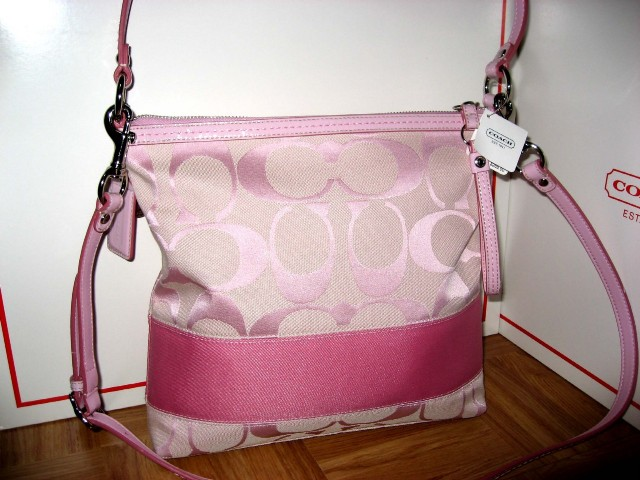 ==SOLD OUT== COACH SIGNATURE PINK STRIPE CONVERTIBLE BAG  13674