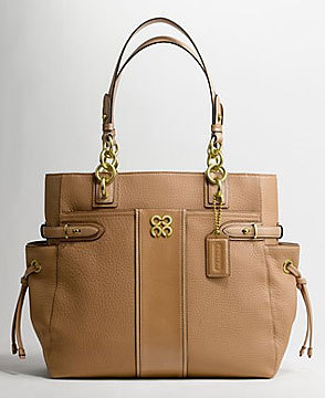 == SOLD OUT == COACH COLETTE STRIPE LEATHER CAMEL TOTE 16432