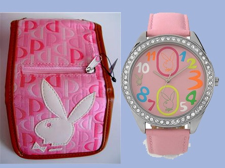 PLAYBOY COLOUR FACE PINK LEATHER WATCH ขายคู่กับกระเป๋าสตางค์ PLAYBOY PINK MONOGRAM