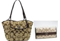 COACH SIGNATURE LEAH TOTE BAG 14659 ขายคู่ COACH SOHO HKAKI WALLET 42818