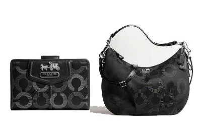 กระเป๋า COACH MADISON DOTTED HOBO BLACK 15929 ขายคู่ COACH MADISON WALLET 45121