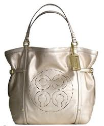 กระเป๋าสะพาย COACH AUDREY CINCHED ANDIE GOLD LEATHER TOTE 17034