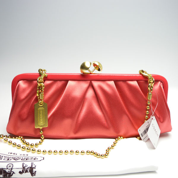 กระเป๋าสะพาย COACH AMANDA CORAL SATIN DARCY CLUTCH KISSLOCK BAG 13598