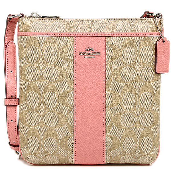 กระเป๋าสะพาย COACH SIGNATURE PVC AND LEATHER NORTHSOUTH CROSSBODY BAG  LIGHT KHAKI  PINK F52856