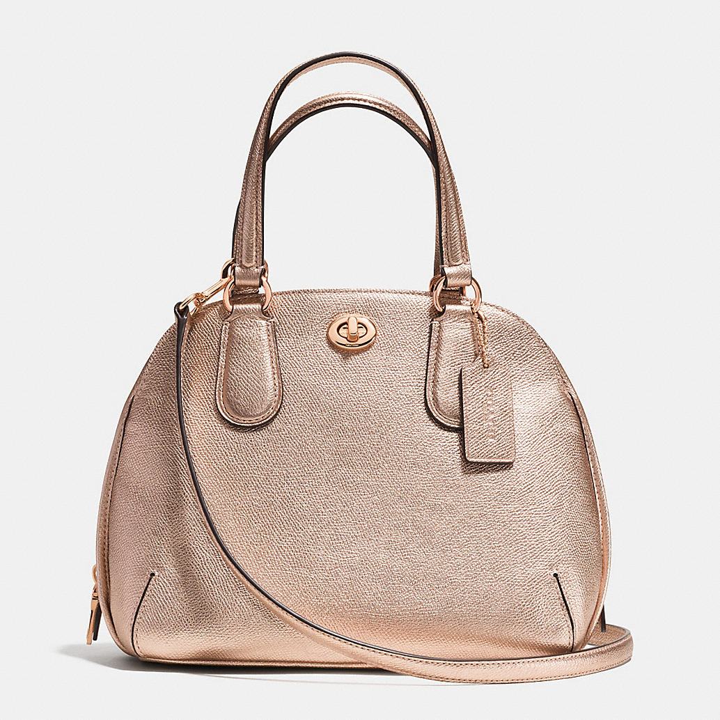 กระเป๋าสะพาย COACH PRINCE STREET MINI LEATHER CROSSGRAIN DOMED SATCHEL ROSE GOLD 34940