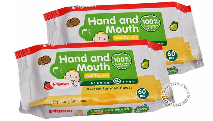 Pigeon Baby Wipes Hand and Mouth 60x2ห่อ