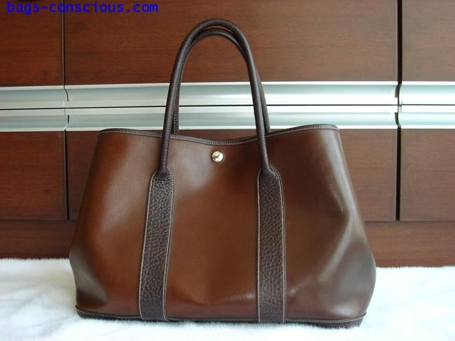 hermes garden party tote/rubber/chocolate color #1590553