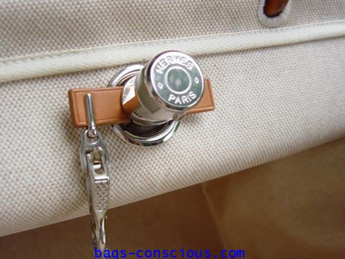 hermes;her bag; large size with two white canvas #2446268