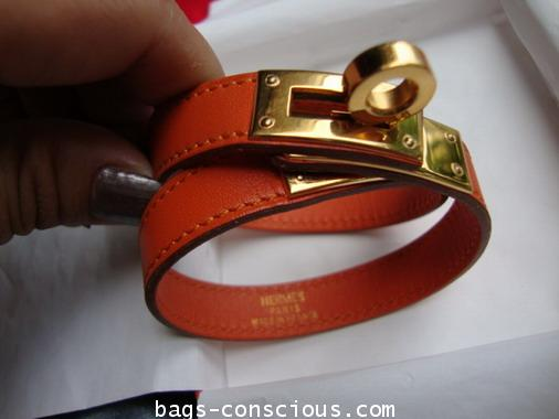 hermes tote bag - hermes kelly double tour bracelet in orange with gold buckle #2520132
