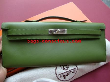 faux birkin - hermes kelly longue olive green brand new(wallet and clutch) #2689256