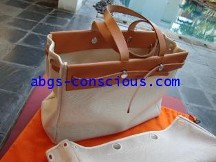 hermes herbag tote with two interchangable white canvas #2888471