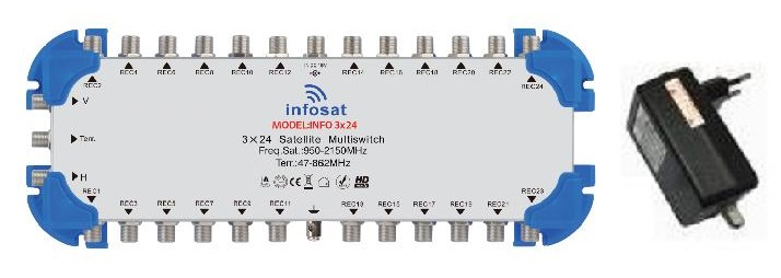 MULTI SWITH 3x24 INFOSAT INF-3X24 + ADAPTOR