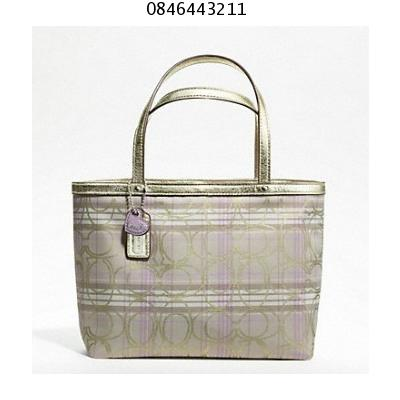 ++พร้อมส่ง192++Coach 46752 SIGNATURE STRIPE TARTAN TOP HANDLE TOTE