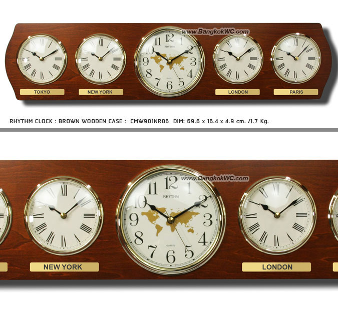 นาฬิกาแขวน WALL CLOCK RHYTHM CMW901NR06 27 inch. (5 Local time)