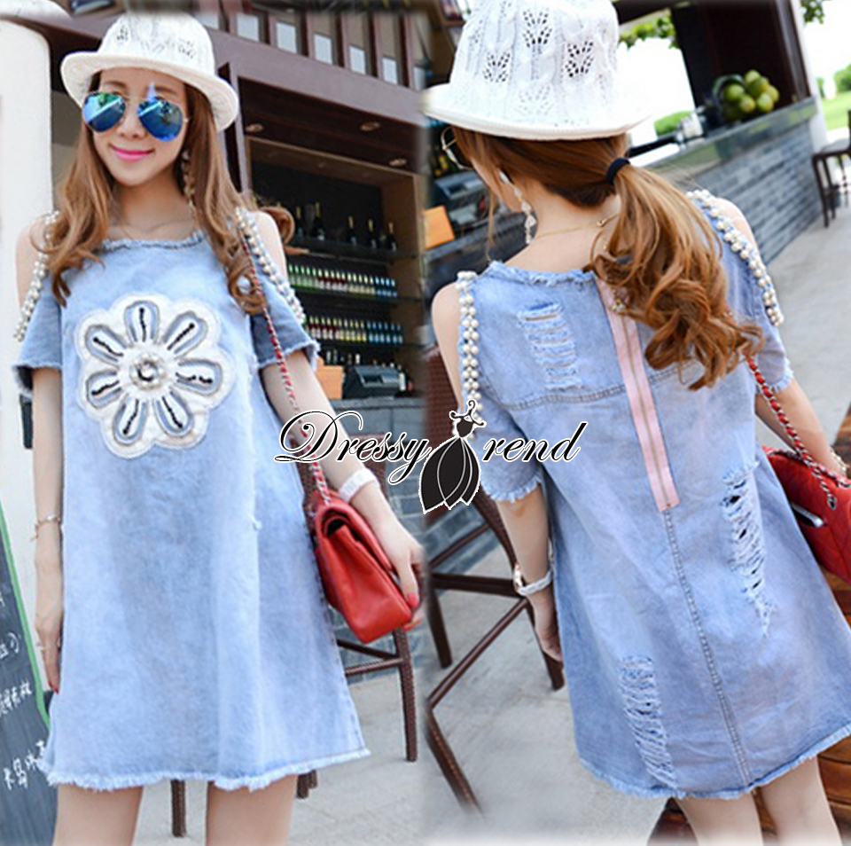 2610 Lady Victoria Flower Embroidered and Embellished Cut-Out Ripped Denim Dress เดรสคัทเอาท์ไหล่ชา