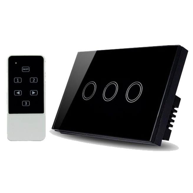 Real Switch Touch 3 gang with remote control (Black)