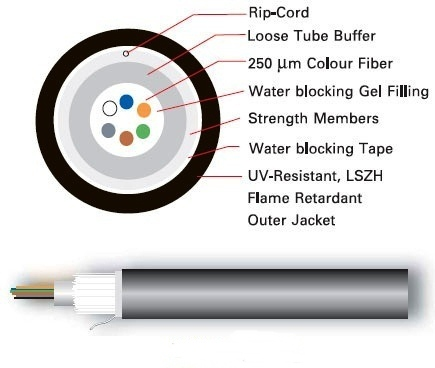 F.O,OUTDOORINDOOR 24 CORE,SM,9125, PE,LSZH,FR,DielectricMulti-Tube