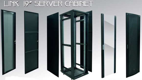 LINK 19quot; SERVER CABINET 42U, (80x80 cm.) Color Black Dimension (cm.)80x80x205  (GW)