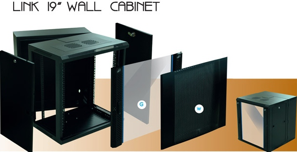 LINK 19quot; WALL CABINET 12U, ลึก   50  cm. Double,Black Dimension(cm.) 60x50x59.0  (W-Series)