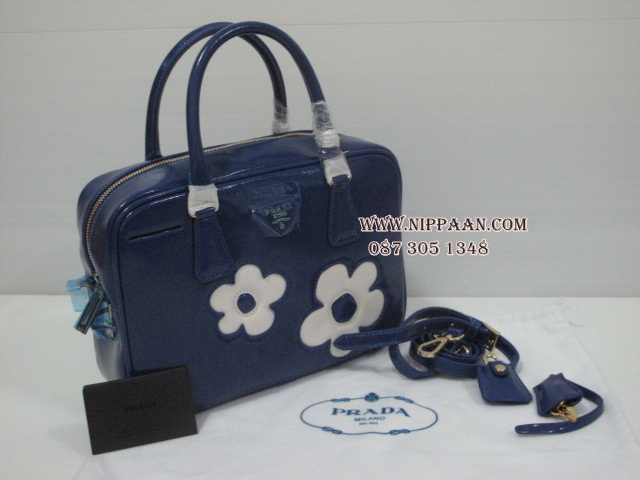 knock off prada purses - Prada Flower Applique Patent Saffiano Bag Top Premium Grade #5449220