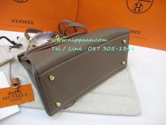 replica hermes wallets - HERMES KELLY 28 cm Togo Leather Top Mirror image 7 stars in Etoupe ...