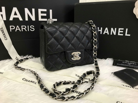 6116262700a6 CHANEL MINI 7 INCH SQUARE CAVIAR LEATHER IN BALCK SHW #7014550
