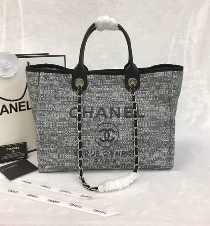 e7592ce12 Chanel 2018 Limited Edition Deauville Medium Shopping Tote Bag Charcoal  Tweed