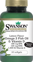 Swanson Premium Lemon Flavor Omega-3 Fish Oil  Vitamin D 60 softgels