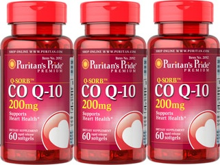 3 กระปุก Puritan's pride[usa] co q10 200 mg.60 softgels