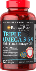 Puritans Pride  Omega 3-6-9 with Evening Primrose Oil 120 softgels