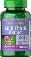 Puritans Pride Milk Thistle (Silymarin) 1000 mg  180 Softgels