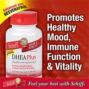 schiff DHEA 25 mg Plus Enhanced With Resveratrol ขนาด 350 Tablets