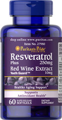 Resveratrol 250 mg, with red wine extract 60 Softgels