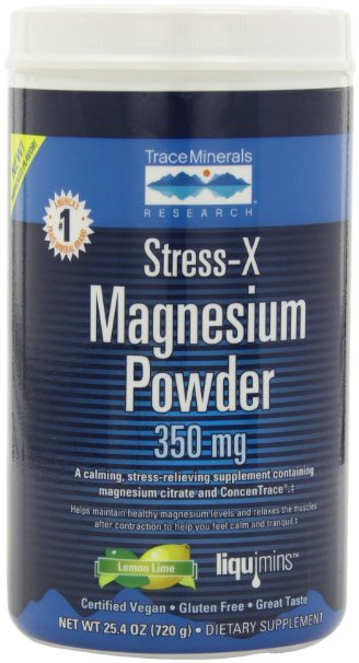 Trace Minerals Research, Stress-X Magnesium Powder, Lemon Lime 350mg, 25.4-Ounce