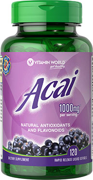 vitamin world ACAI 1000mg.120 rapid release liquid softgels