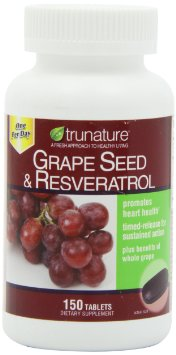 TruNature Grape Seed Resveratrol  150 Timed-Release Tablets