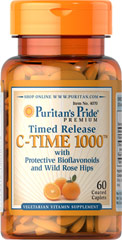 Puritans Pride Vitamin C-1000 mg.60 เม็ด with Rose Hips Timed Releaseแบบสลายตัวช้า