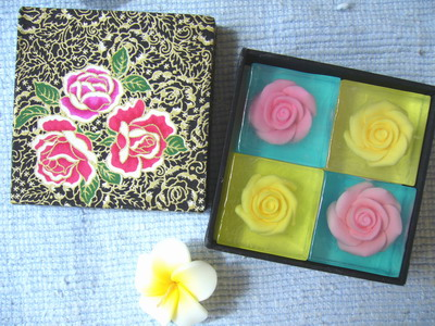 Rose  soap   4  bars in silk box