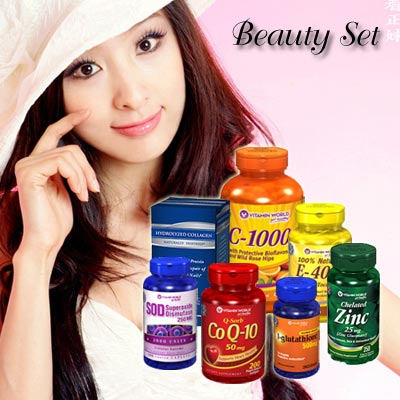 [Package] Coenzyme Q-10+Hydrolyzed Collagen+VitaminC+VitaminE+L-Glutathione+SOD+Zinc Chelated