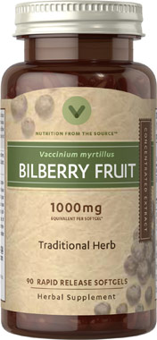 Bilberry Concentrated Herb 1000mg (Vitamin World 1434) 90 Softgels (พร้อมส่ง)