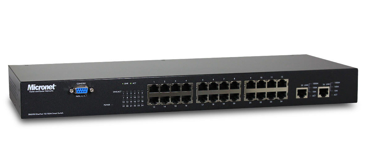 Micronet SP659B 24 Ports 10100M + 2 Ports Gigabit Smart Switch with Internal Power
