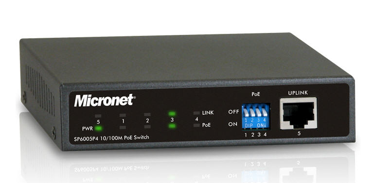 Micronet SP6005P4  5 Port Ethernet 10100 Mbps Switch with 4 PoE Ports