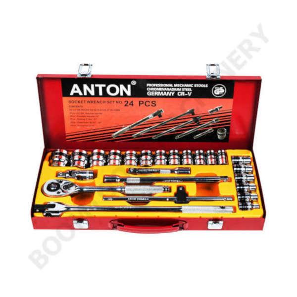 ชุดบ๊อกซ์ 4หุน 6P 24ตัว 10-32mm ANTON (งานเยอรมัน) 007620