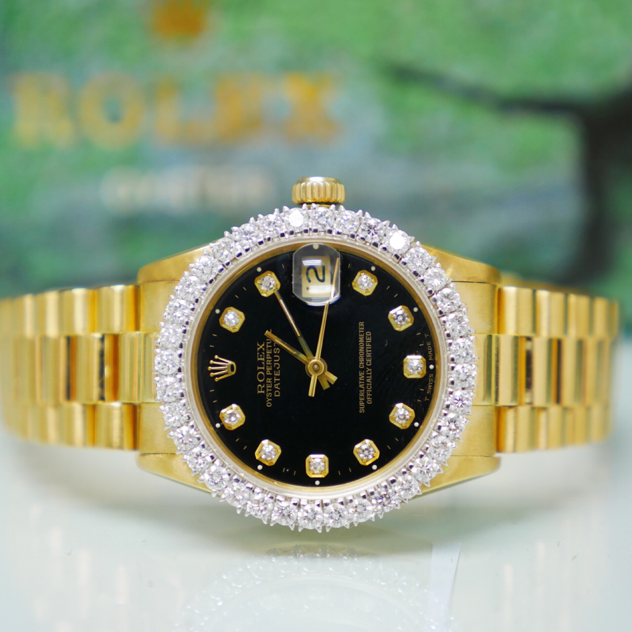 Rolex Used 68278  31mm President Yellow Gold with Black Diamond Dial