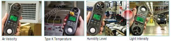 เครื่องวัดแสง ความเร็วลม อุณหภูมิ ความชื้น 4 in 1 Light-Anemometer-Hygro-Thermo Meter