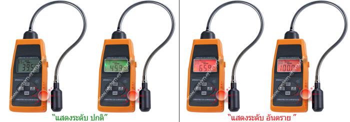 จอ LCD แสดง ระดับปริมาณการตรวจวัดแก๊สรั่ว ถึงระดับสูงสุด 100%