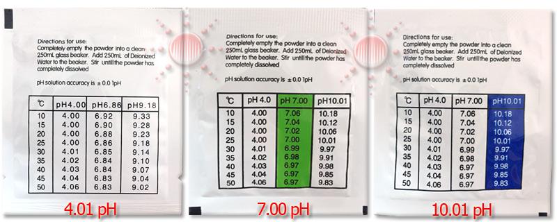 ผงน้ำยาบัพเฟอร์ Powder buffer solution แบบซองผสมน้ำ สำหรับ Calibration pH meter 4.01,7.00 และ 10.01   ผงน้ำยาบัพเฟอร์ Powder buffer solution แบบซองผสมน้ำ สำหรับ Calibration pH meter 4.01,7.00 และ 10.01pH
