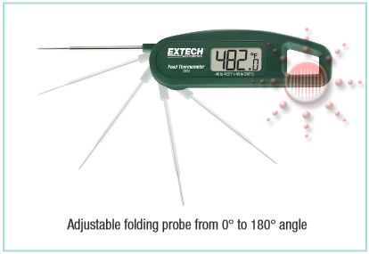 Probe can be positioned from 0° (storage) to 180° angle